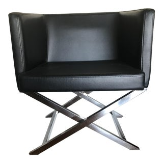 Black Leather Director Style Chair For Sale