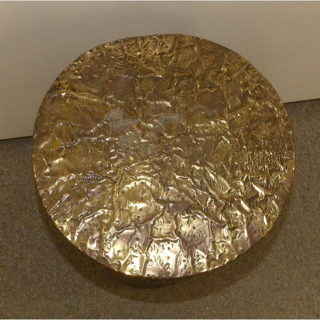 Arthur Court Signed Arthur Court Hammered Brass Side Table or Accent Table Base For Sale - Image 4 of 9