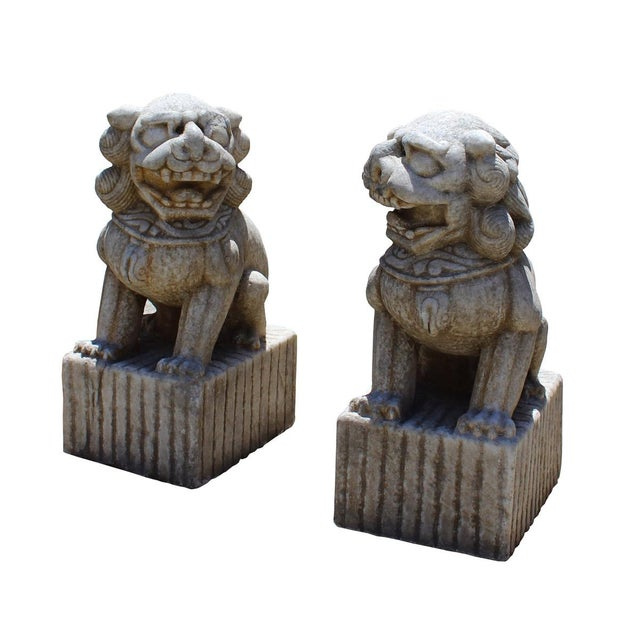 Chinese Distressed Marble Stone Fengshui Foo Dogs Statues - a Pair For Sale - Image 4 of 7