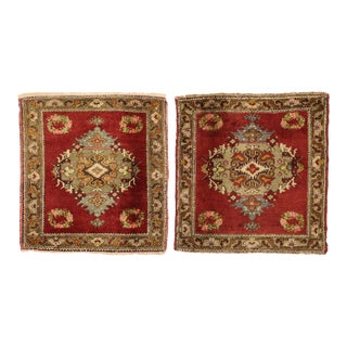 Vintage Turkish Oushak Yastik Scatter Rugs - 02'05 X 02'05 - a Pair For Sale