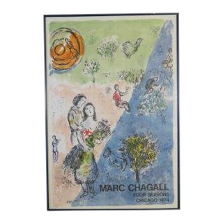 "Vintage 1974 ""Four Seasons Chicago 1974"" Lithograph Art Poster by Marc Chagall For Sale"