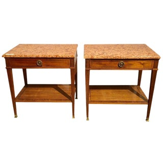 Pair of Maison Jansen Style Marble-Top Single Drawer Nightstands or End Tables