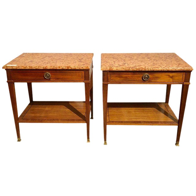 Pair of Maison Jansen Style Marble-Top Single Drawer Nightstands or End Tables For Sale