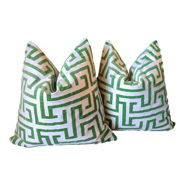 Ming Trail Tribaut Velvet Greek Key Pillows - A Pair For Sale