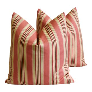 "French Coral Striped Ticking Feather/Down Pillows 23"" Square - Pair"