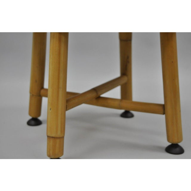 Bamboo Vintage Green Vinyl Bamboo Wood Stool For Sale - Image 7 of 11
