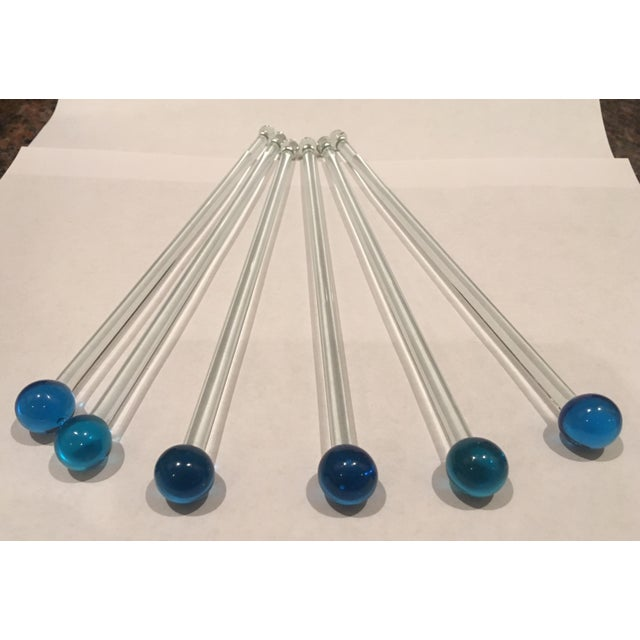 Mid Century Glass Royal Blue Ball Swizzle Sticks/Cocktail Mixers - Set of 6 For Sale - Image 9 of 12