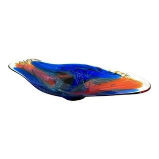 Henry Summa Signed Cobalt Blue Red Hand Blown Art Glass Sculptural Platter For Sale