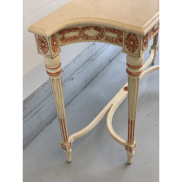 White 20th Century Hollywood Regency Marble Top Console Table For Sale - Image 8 of 11