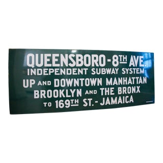 1930s Porcelain Enamel New York City Subway Sign For Sale