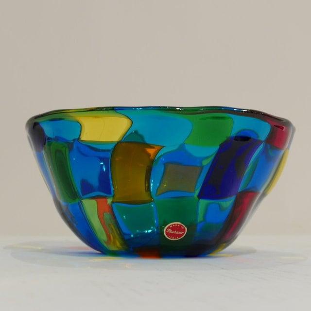 """Glass Italian Vibrant Blue Ballarin Murano Glass """"Pezzatto"""" Bowl Signed W Label For Sale - Image 7 of 9"""
