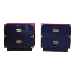 Campaign Nightstands Lacquered Glossy Navy - a Pair For Sale