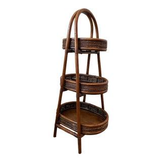 Vintage 1980s Three-Tiered Wicker Basket For Sale