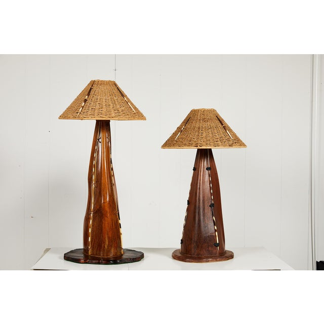 Interesting Pair of Midcentury Palm Frond Lamps For Sale - Image 13 of 13