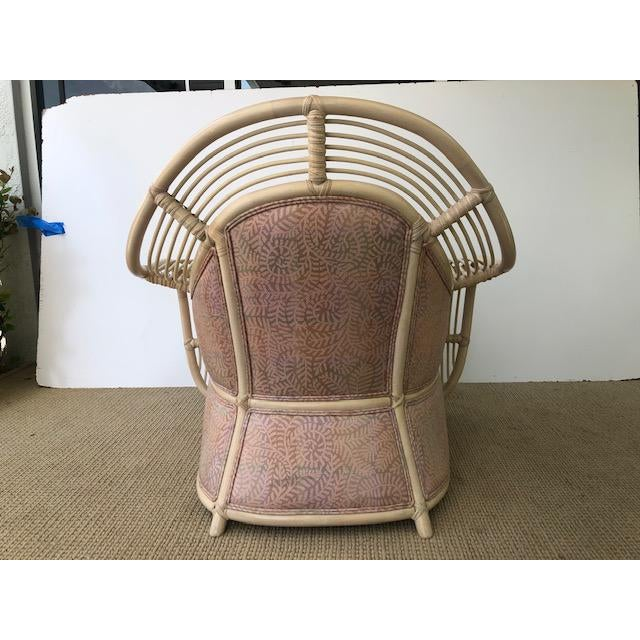 1980s Vintage Palm Beach Regency Rattan and Reed Lounge Chair & Ottoman For Sale - Image 10 of 11