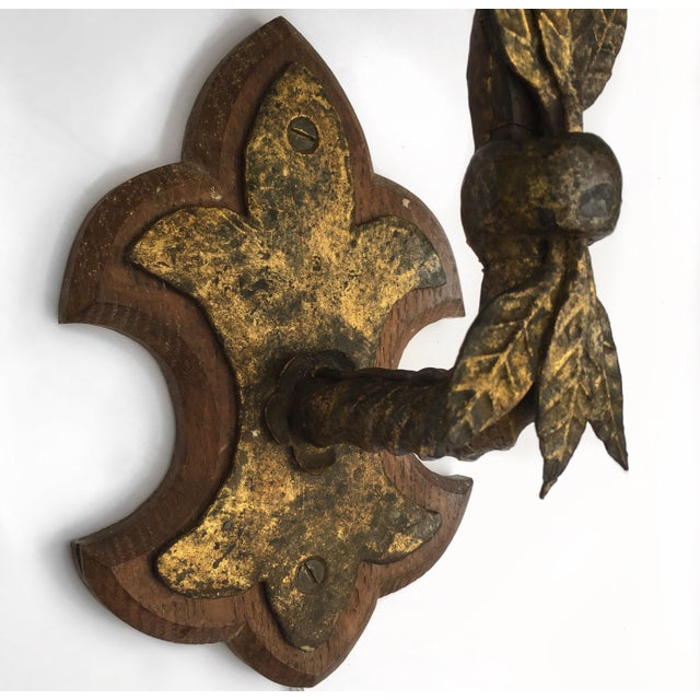 Wood & Metal Sconces - A Pair - Image 4 of 5