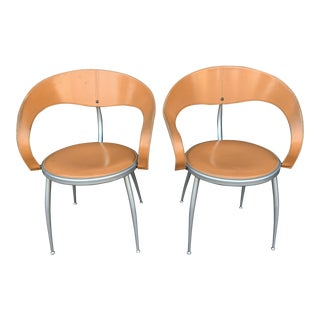 Mid Century Italian Leather Chairs - Pair For Sale