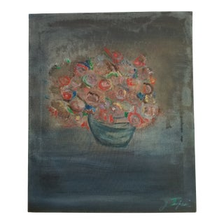 Cottage Style Floral Still Life Painting by J. Turpin For Sale