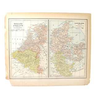 1880's Map of Holland, Belgium,Denmark, Sweden, & Norway For Sale