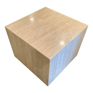 Italian Travertine Marble Side Table on Wheels For Sale
