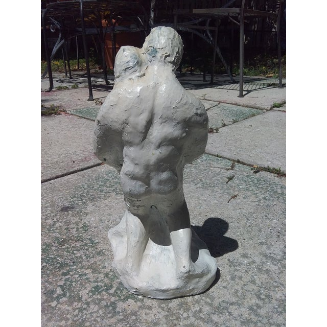 """Market found, I love the white textured overlay on this Male and female """"Embrace"""" sculpture. No makers mark."""