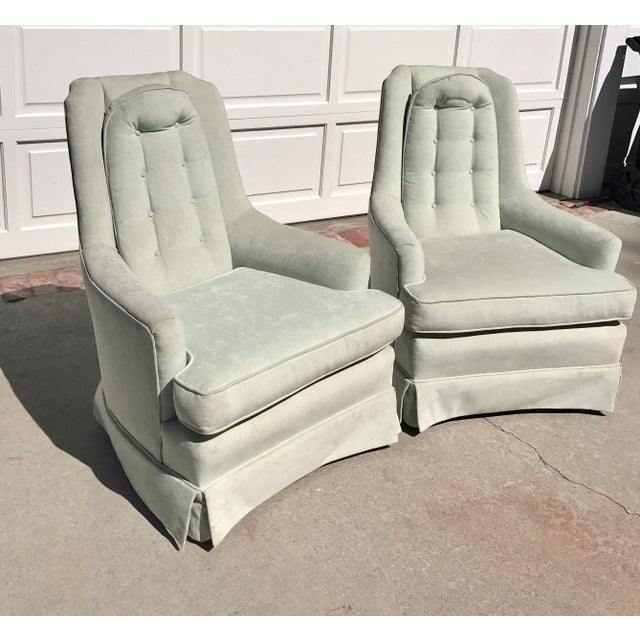 Pale Green Skirted Chairs - A Pair - Image 3 of 4