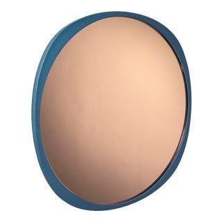 Contemporary Petrol Blue Frame Peach Fade Mirror For Sale