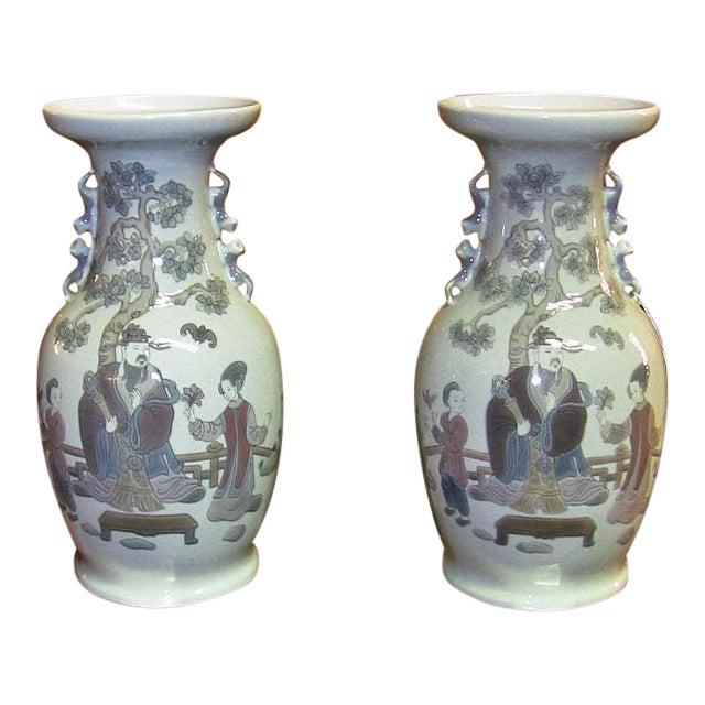 Lladro Retired Mandarin Vases - Very Rare- A Pair For Sale