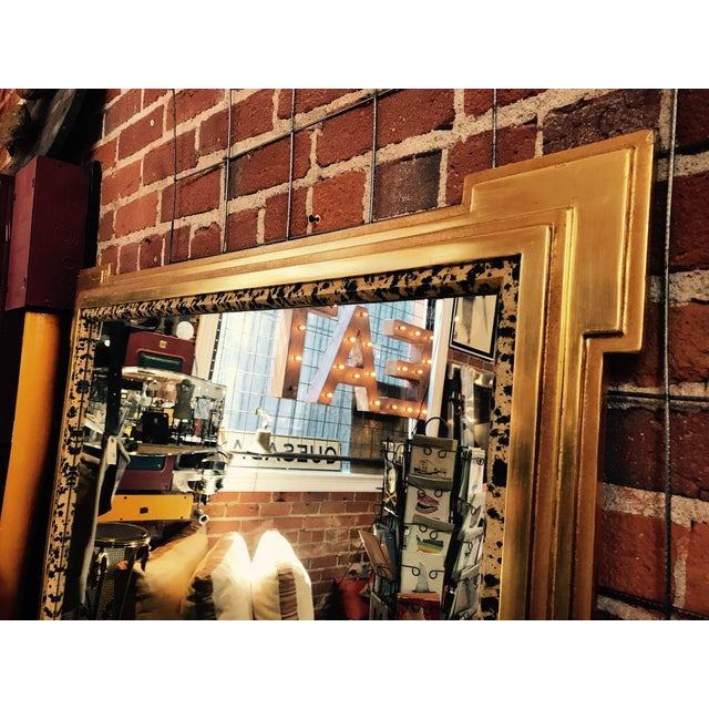 Deco Inspired 1980s Gold & Tiger Print Wall Mirror - Image 5 of 9