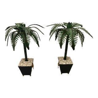 Hollywood Regency Tall Tole Painted Palm Tree Candlesticks Holders in Planters, A-Pair For Sale