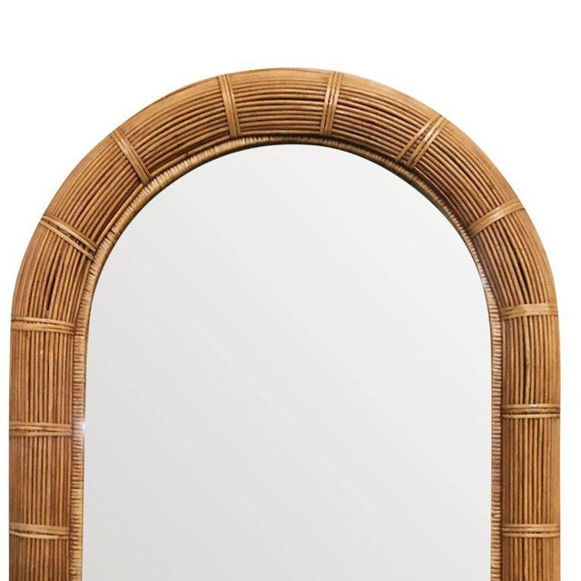 Modern Restored Stick Rattan Wall Mirror With Large Rattan Wrappings For Sale - Image 3 of 4