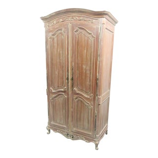 Century Furniture Louis XV Style Distress Painted Linen Press For Sale