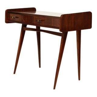 Italian Midcentury Sapele Wood Vanity or Dressing Table With Hinged Mirror For Sale