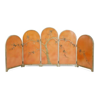 Peach Art Deco Carved Relief Floral Chinoiserie Folding Screen, Circa 1920 Preview