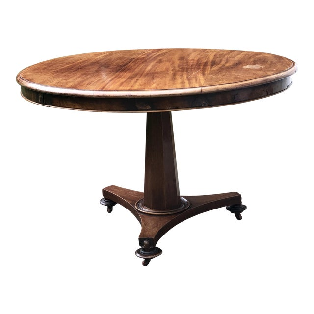 Traditional Round Wood Pedestal Table For Sale