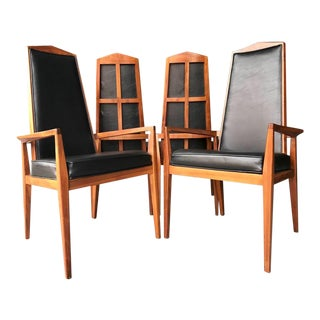 Mid Century Modern Foster McDavid High Back Dining Chairs - Set of 4 For Sale