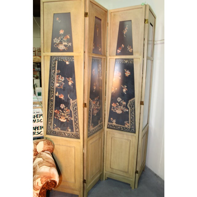 Traditional custom made 4 panel screen with antique Chinese lady's silk court robe. Please note: Decaso will provide...