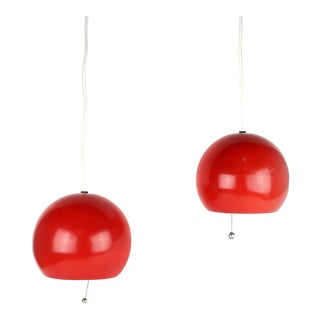 1970s Vintage Danish Modern Ball Pendant Lamps- A Pair For Sale