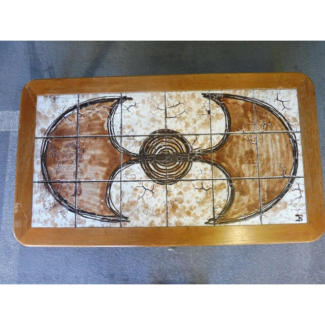 70's Abstract Painted Tile Top Danish Modern Coffee Table Signed For Sale In Miami - Image 6 of 11