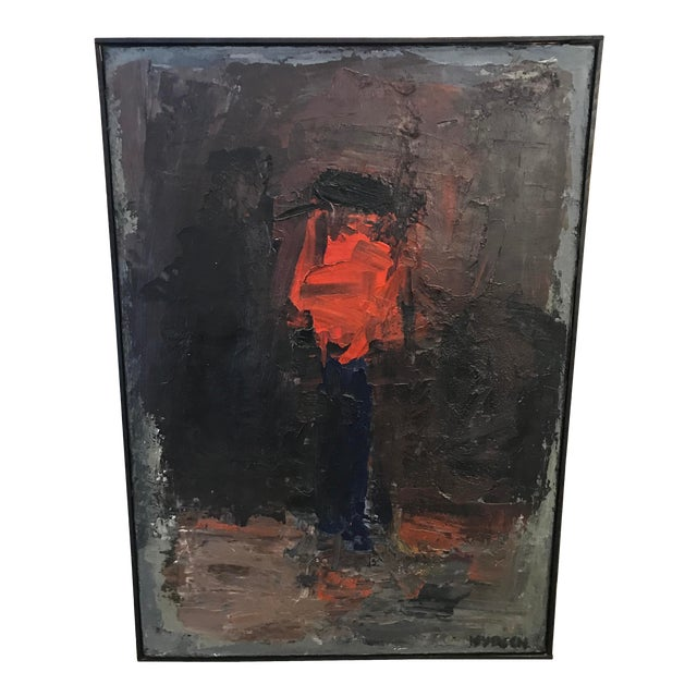 """""""Blume"""" Oil Exhibited Painting by Swiss Artist Charles Wyrsch For Sale"""