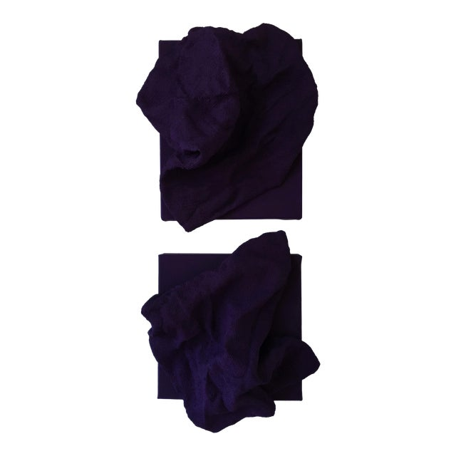"""Chloe Hedden """"Egyptian Violet Folds Pair"""" Mixed Media Wall Sculpture For Sale"""