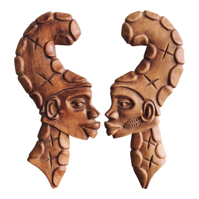 Vintage African Wooden Faces Wall Art For Sale