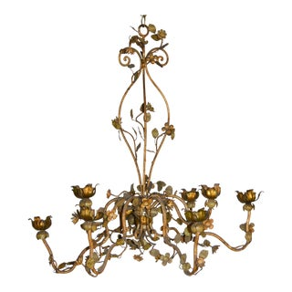 Vintage Italian Iron Chandlier With Flowers and Leaves For Sale