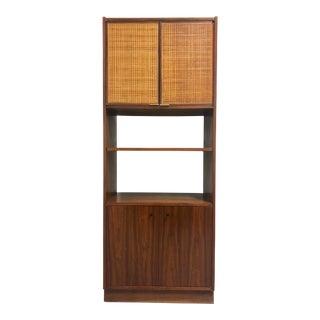 Mid Century Danish Modern Walnut Rattan Cabinet Bookcase For Sale