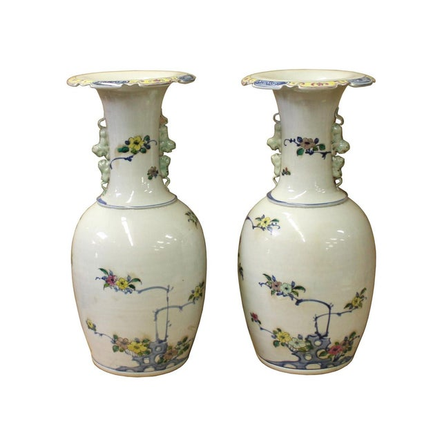 Asian Pair Chinese Off White Porcelain Flower Birds Foo Dogs Accent Vases For Sale - Image 3 of 5