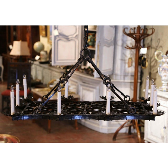 Black 19th Century French Gothic Forged Iron Flat Bottom Ten-Light Chandelier For Sale - Image 8 of 13