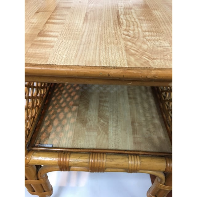 Wicker and Bamboo Chair & Table For Sale - Image 4 of 12