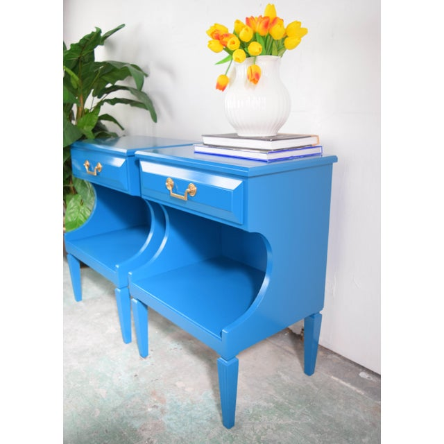 Modern 20th Century Italian Baroque Teal Blue Side Tables - a Pair For Sale - Image 3 of 9