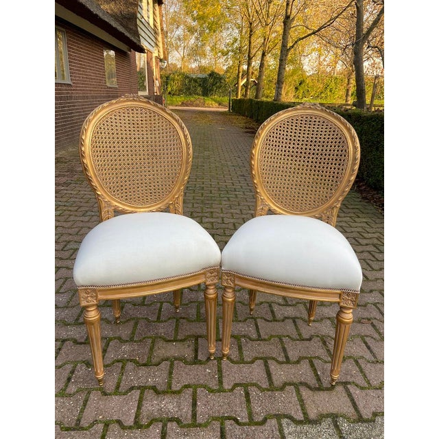 2020s New 4 Chairs in Antique Gold Finish For Sale - Image 5 of 8