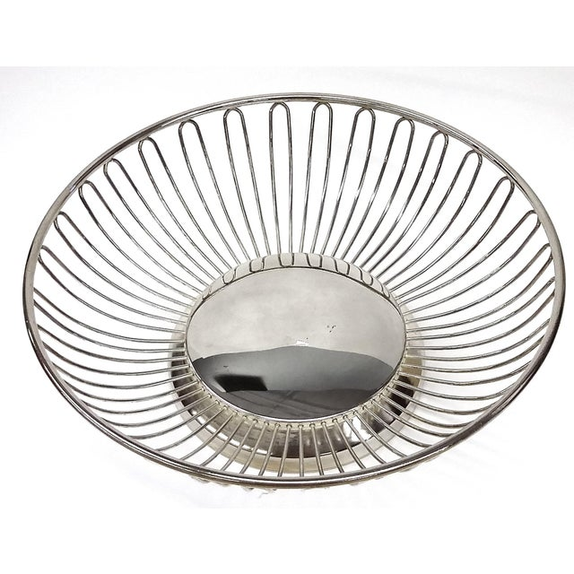 Mid-Century Silver Plate Openwork Modern Fruitbowl - Image 4 of 8
